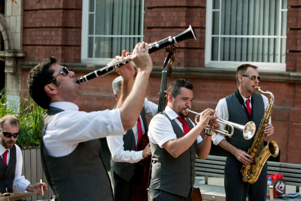 England, Birmingham, 08-07-13The Potato Head Jazz band at church street sq.© Photo Merlin Daleman