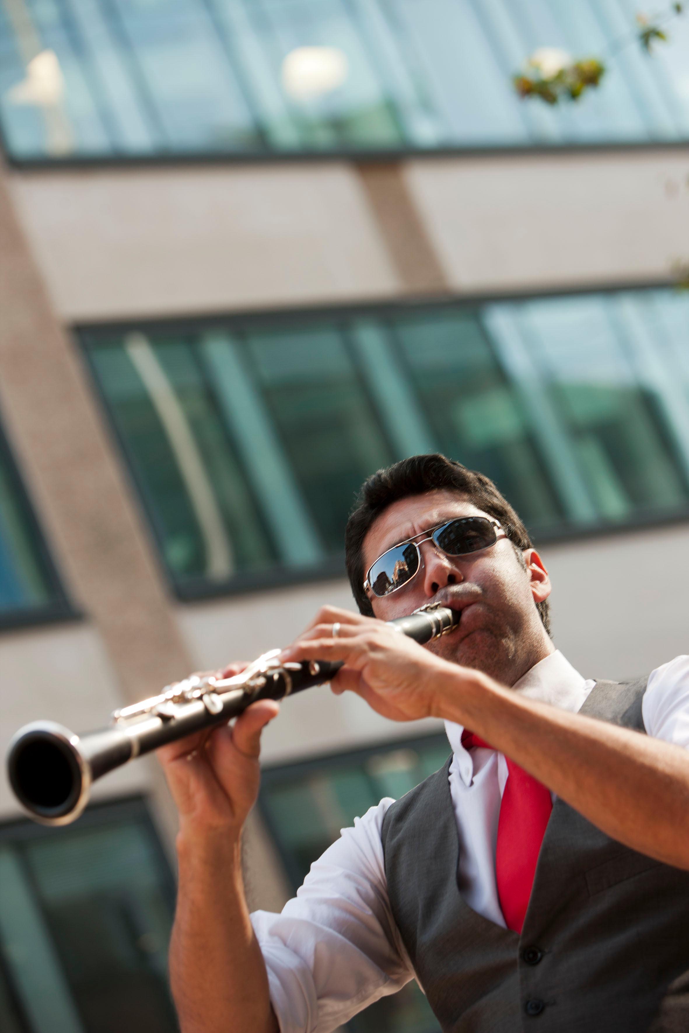 England, Birmingham, 08-07-13 The Potato Head Jazz band at church street sq. © Photo Merlin Daleman